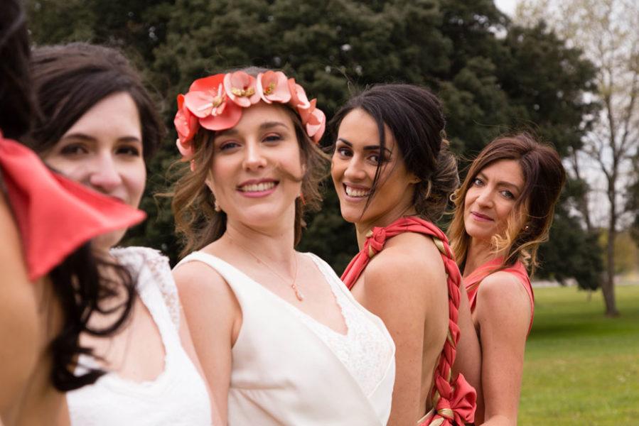 photo de la mariée et ses demoiselles d'honneur
